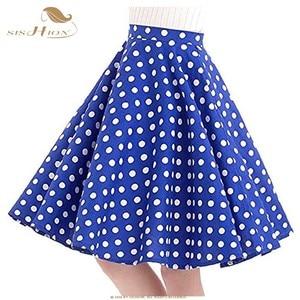 Image 5 - SISHION נשים חצאית כחול אדום שחור לבן מנוקדת גבוה מותניים בציר סקטים faldas mujer בתוספת גודל בית ספר קצר חצאית VD0020