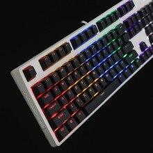 أسود أبيض الكرز الشخصي PBT مزدوجة النار 104 108 أعلى طباعة تألق من خلال شفافة الخلفية keycap للوحة المفاتيح الميكانيكية MX