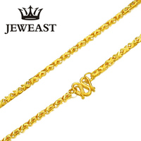24K Pure Gold Necklace Real AU 999 Solid Gold Chain Elegant Simple Upscale Trendy Classic Party Fine Jewelry Hot Sell New 2018