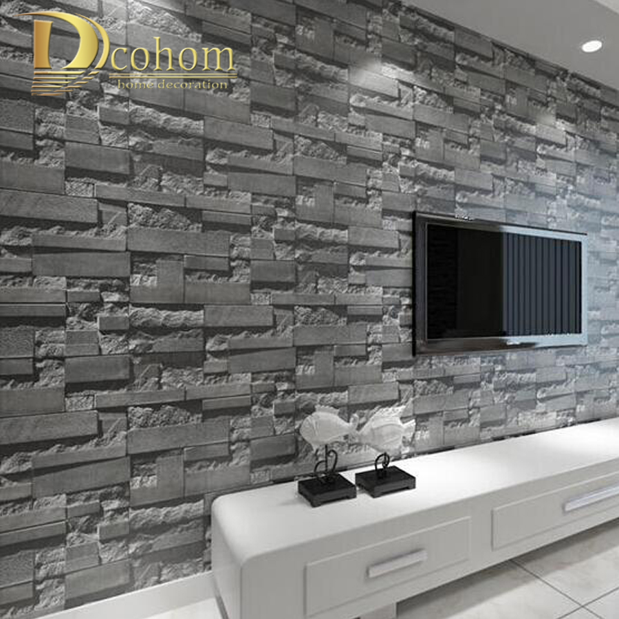 все цены на Luxury Stone Brick wall 10M Non Woven Wallpaper Roll papel de parede 3D Living Room Background Wall Decor Art Wall Paper R306 онлайн