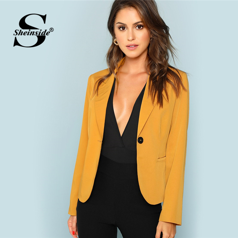 Sheinside Ginger Single Button Ladies Workwear Blazer Women Pocket Front Blazers And Jackets Notched Casual Autumn Outwear