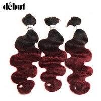 3 Bundles Deal Body Wave Crochet Braids Human Hair Bulk Remy Peruvian Debut Ombre 99J Bulk Human Hair For Bulk Red Color Hair