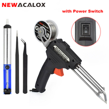 NEWACALOX 60W EU/US Soldering Iron Third Hand-held Gun Automatically Send Tin Automatic Soldering Machine Suction Tin Device