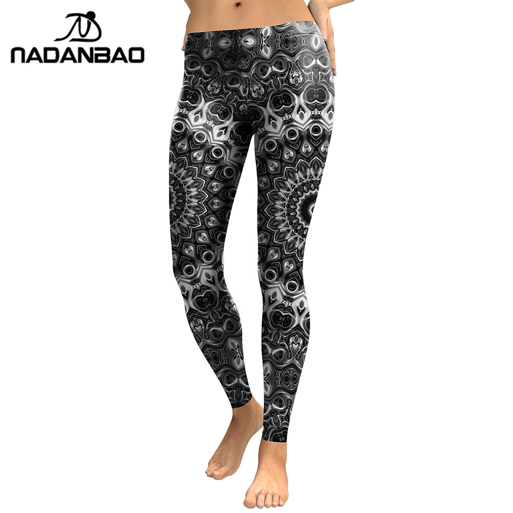 NADANBAO New Arrival 2019 Leggings Women Mandala Flower Digital Print Skeleton Leggins Slim Elastic Workout Plus Size Pants