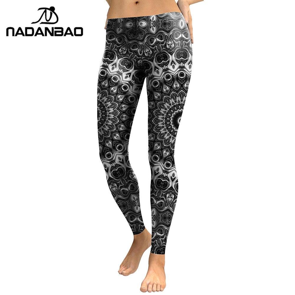 NADANBAO New Arrival 2019   Leggings   Women Mandala Flower Digital Print Skeleton Leggins Slim Elastic Workout Plus Size Pants