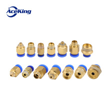 "Купить с кэшбэком Air Pneumatic PCFitting12mm 10mm 8mm 6mm 4mm Hose Tube 1/4""BSP1/2"" 1/8"" 3/8"" Male Thread Pipe Connector Quick Coupling Brass APC"