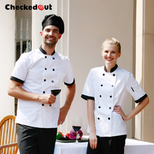 Top quality Cook suit long-sleeve double breasted chef jacket checkout chef unif
