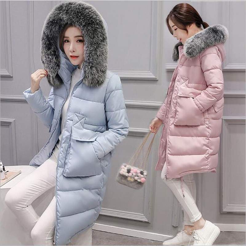 Windproof Down Women's Down Jacket Korean Latest Casual Fashion Slim Women Winter Coat Thick Warm Hooded Fox Fur Down  A2399 silver band quartz wrist watch turntable black dial clock hours mens womens gifts free shipping