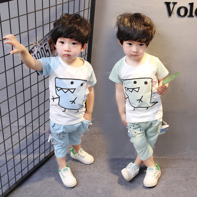 a595c15e Hot 2018 new summer 100% cotton children clothing set baby boys short  sleeve suit 1