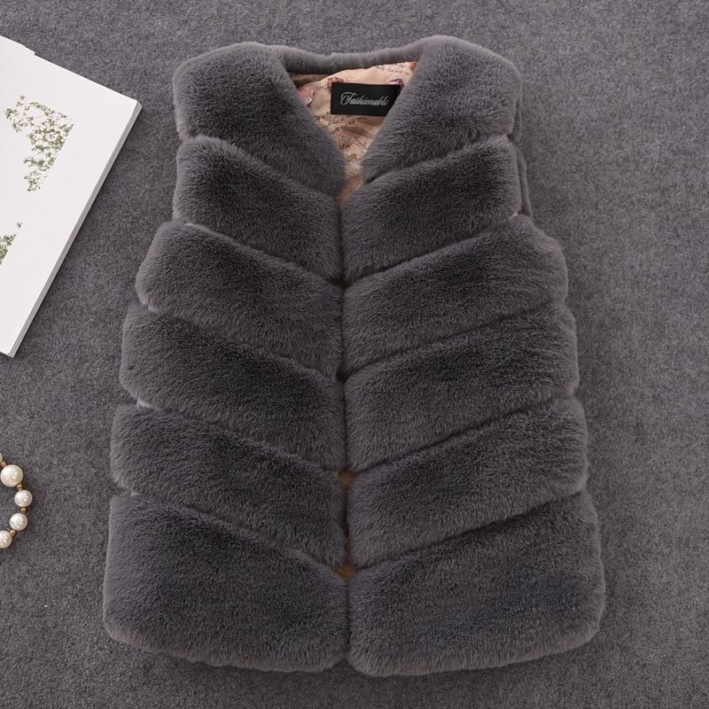 2018 New Winter Fashion Girls Fur Outerwear Thick Warm Faux Fur Vest V-neck Short Fur Colorful Vest For 12m-16y Clothing Vw020 cx g b 112c thick design women fashion genuine raccoon fur vest