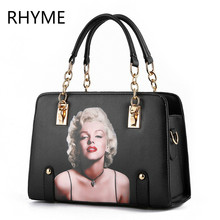RHYME Woman Top Handle Bags New Style Solid Chain Fashion Female Package Shoulder Bag Pu Leather Handbag