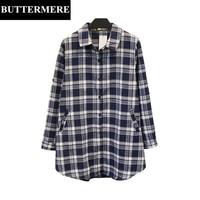 BUTTERMERE 4XL Plus Size Cotton Blouse Long Sleeve Tartan Plaid Shirt Autumn Spring Soft Loose Fashion