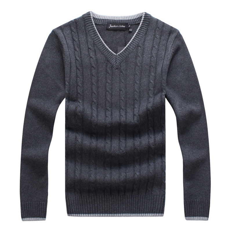 Mens Knitted Sweaters V neck Fashion Pullovers Slim Fit Masculina High Quality Sweater Man Winter Warm
