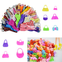 25 Item/Set Accessories=10 Pcs Mix Sorts Beautiful Doll Cloth Short Skirt+5 Doll Handbag +10 Shoes For Barbie Doll Kid Gift Toys