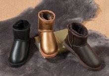 Натуральный Мех Натуральной овчины кожаные ботинки снега Высокое Качество 100% женские зимние ботинки теплые Шерстяные длинные снегоступы