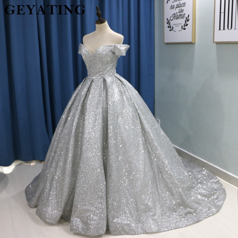 919d8a750c Sparkly Glitter Ball Gown Prom Dresses 2019 Luxury V Neck Long Train ...