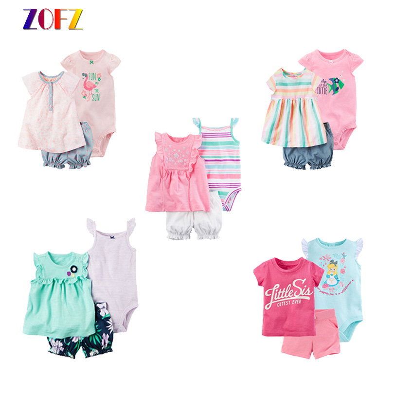 ZOFZ Baby Clothing 2018 New Short Sleeve Romper Sets Cotton Baby 3pcs/Set Clothing for Bebes O-Neck Regular Cute Baby Clothing ...