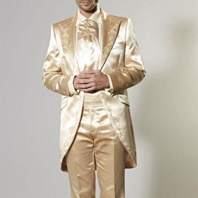 bb7ce30d3ad16 Latest Coat Pant Design Italian Gold Embroidery Men Suit Slim Fit Tuxedo 2  Piece Blazers 2017