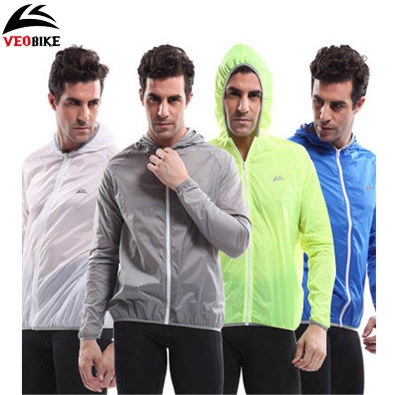 VEOBIKE Men Long Sleeves Hooded Waterproof Windbreak Sunscreen Outdoor Sport Raincoat Bike Jersey Bicycle Cycling Jacket