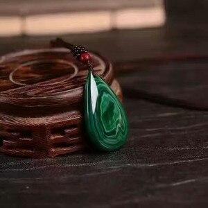 Image 2 - QIANXU Malachite Necklace Pendant  Water Drop Jade Pendant Jade Jewelry Fine Jewelry