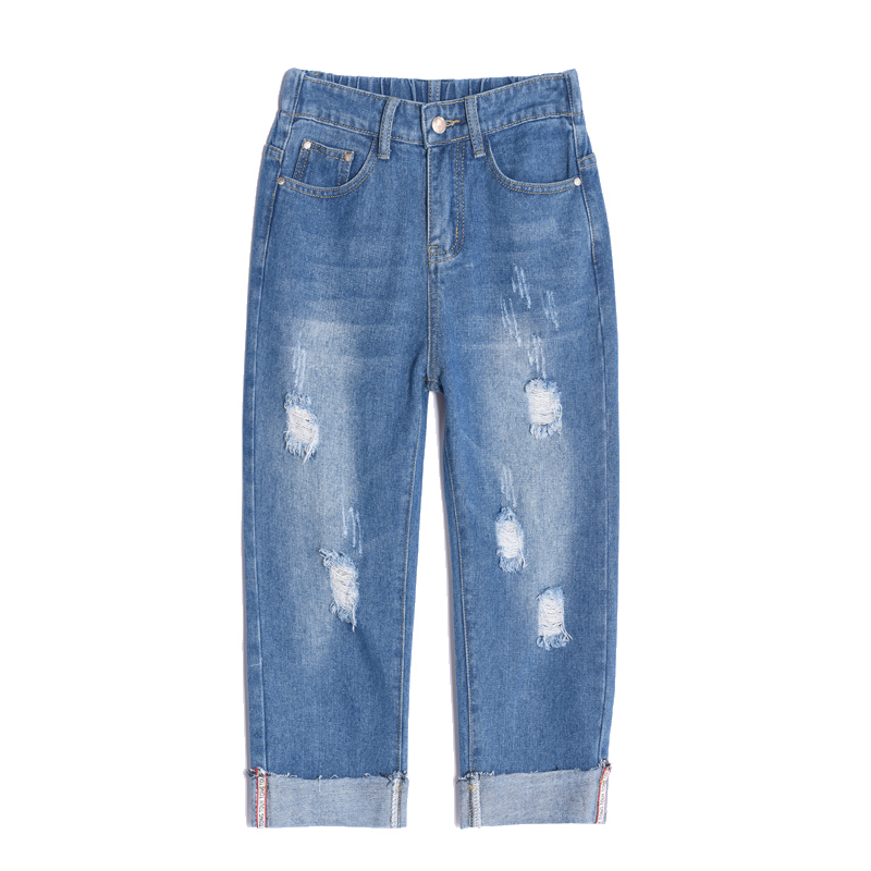 Ripped Hole Summer Skinny Jeans Women Denim Capris Pants Elastic High Waist Jeans Woman Stretch Slim Jeans Calf Length Jeans D22