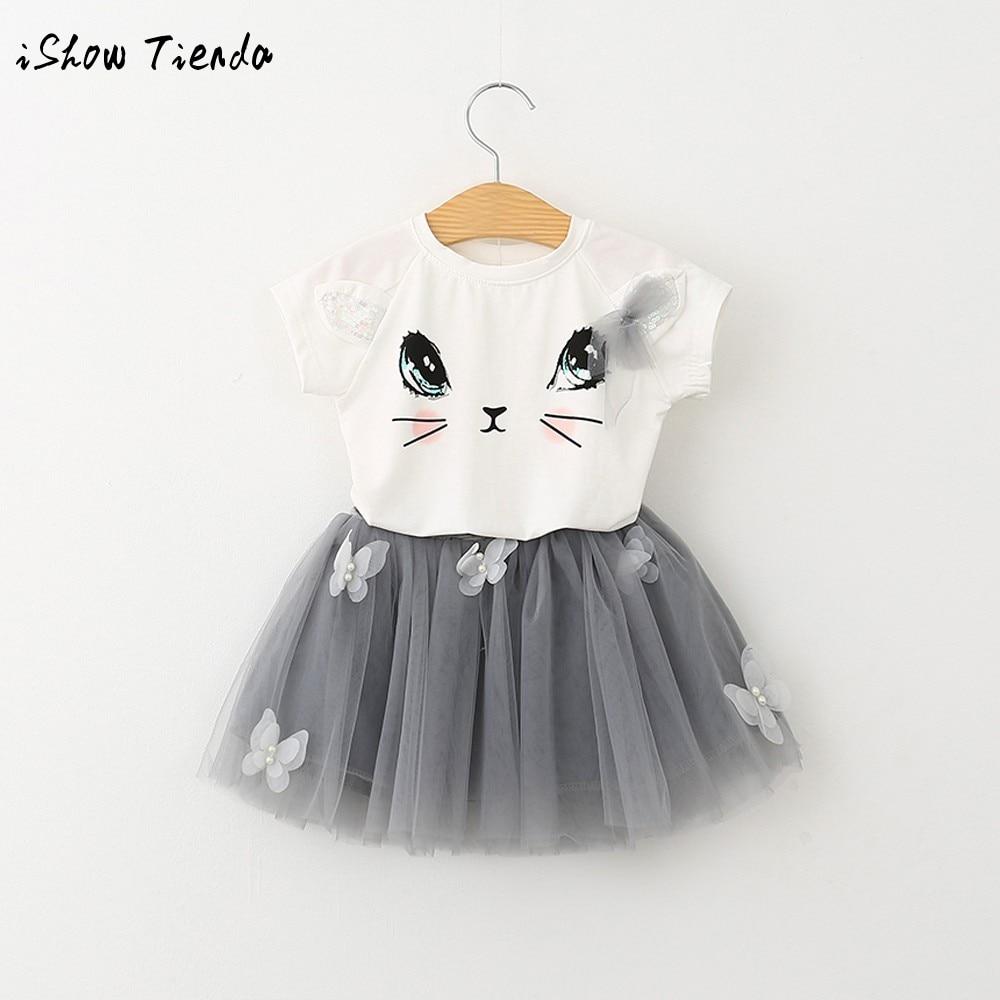 Girls suit 2018 Summer Baby Girls Clothing Sets Cartoon Cat short sleeve Shirt Top Butterfly Net Veil Dress 2Pcs Girls Clothes