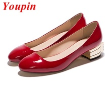 Fashion Sweet Low Heeled Shoes Rhinestone 2015 Spring Autumn Black Red Cow Leather Coarse Square Fashion