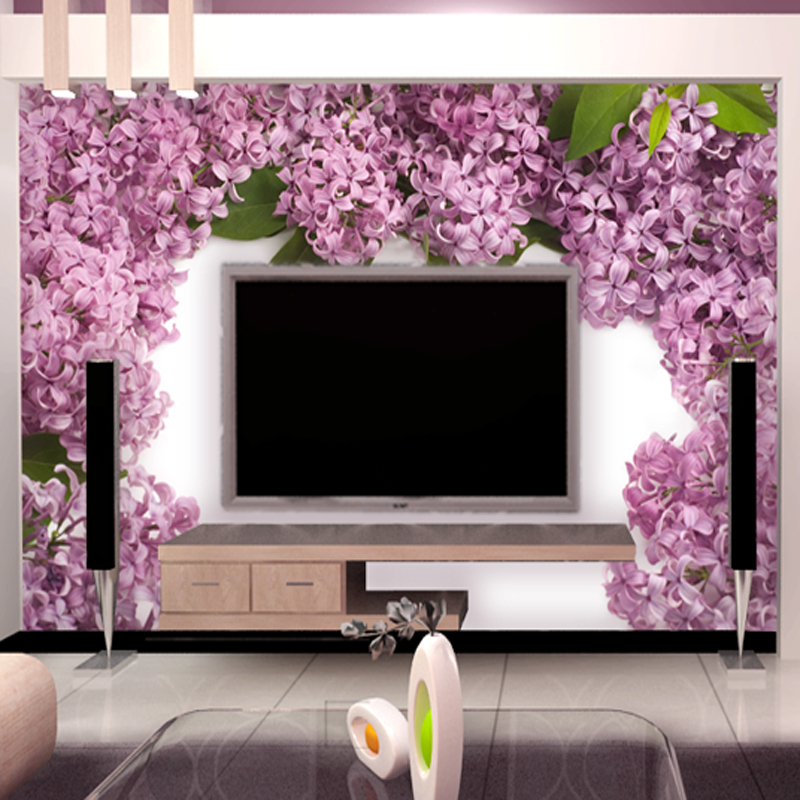 Korean custom living room study bedroom non-woven wall paper TV backdrop wallpaper Seamless wall murals 3d brief Violet garland