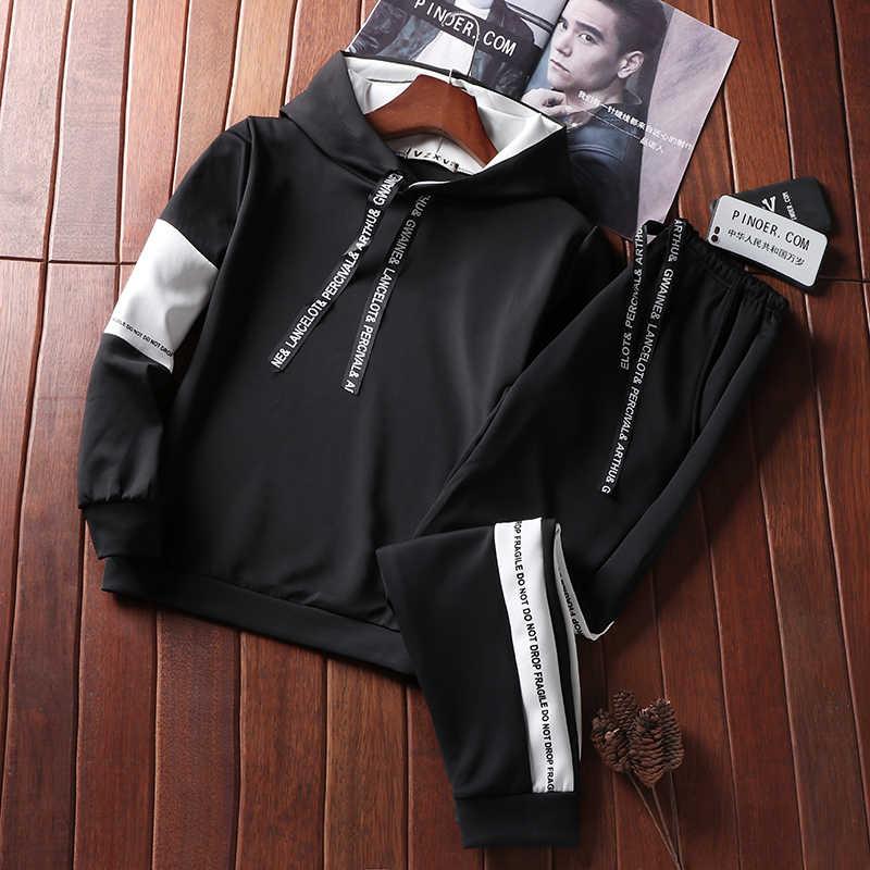 Повседневный Спортивный костюм мужские толстовки Тонкий мужской комплект брюки костюмы сплошное с длинным рукавом мужская одежда толстовка + брюки Мужская спортивная одежда 2019 Новый