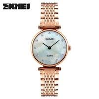 Women Quartz Watches SKMEI Brand Fashion Ladies Bracelet Watches Shell Dials Dress Waterproof Wristwatches 2017 Gift