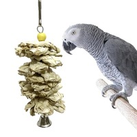 Bird   Parrot Toys Natural Wooden Grass Chewing Bite Hanging Cage Accessories Bell Swing Climb Chew Toys   Bird     Supplies