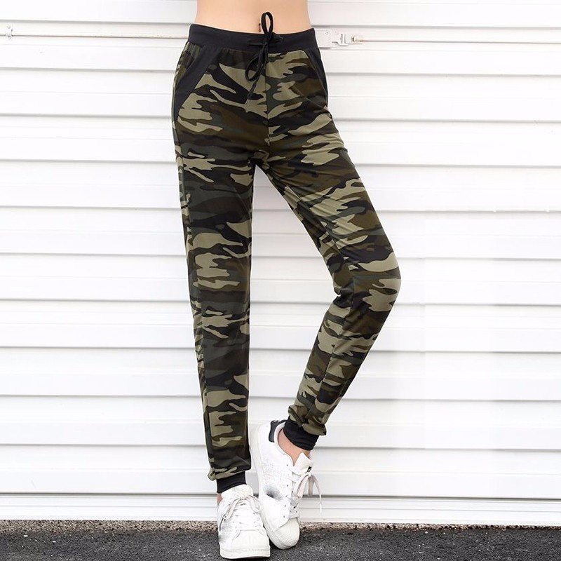 AOSHENG 2019 nuevo camuflaje Joggers Mujer Pantalones de chándal Harem Camo Pantalones cordón Mujer Calca suelta Mujer