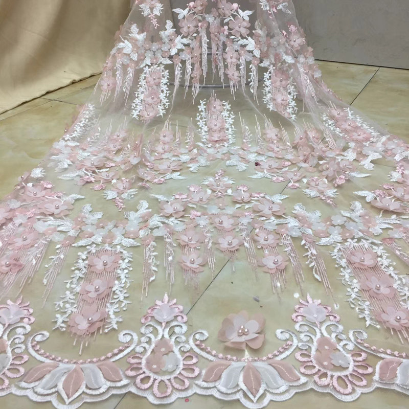 FolaSade Hot Selling 3d Fower African Embroidery Tulle Lace Design African French Beads Lace Fabric Nigerian Bridal Fabric TY902
