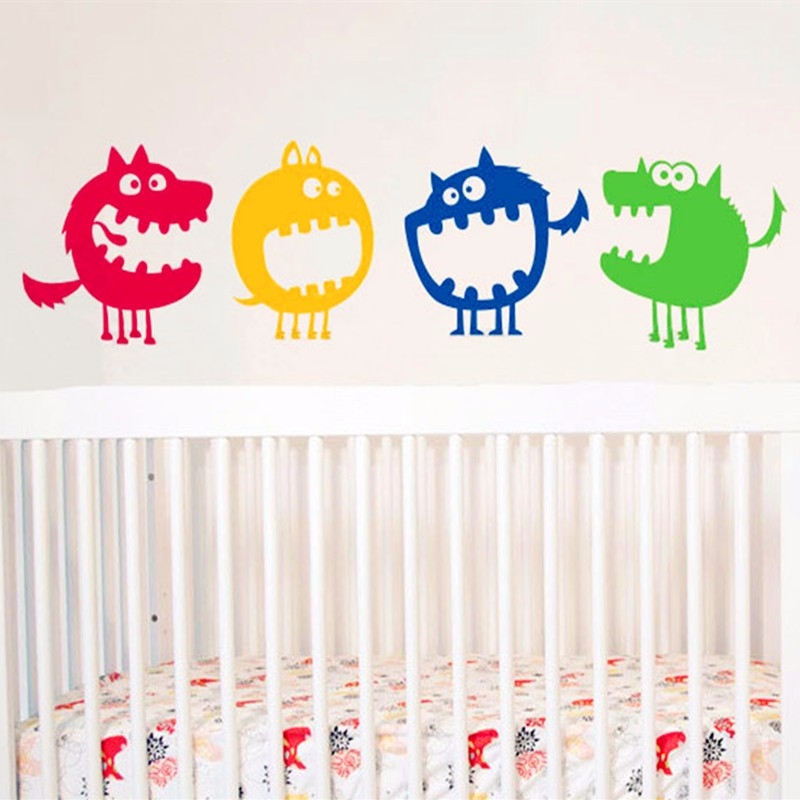 2017 hot four cute little monster decals baby nursery room for Baby room sticker decoration