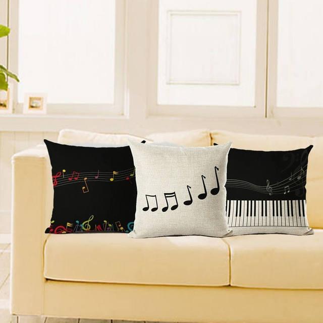 Nordic Music Pillow Case Cushion Cover Piano Score Pillow Case Sofa Car Chair Throw Pillowcase Wedding Decorative almofadas