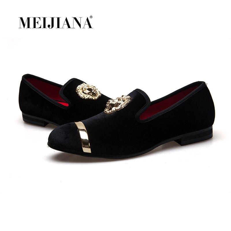 Nouveau mode or haut et métal orteil hommes velours robe chaussures italiennes hommes robe chaussures mocassins à la main