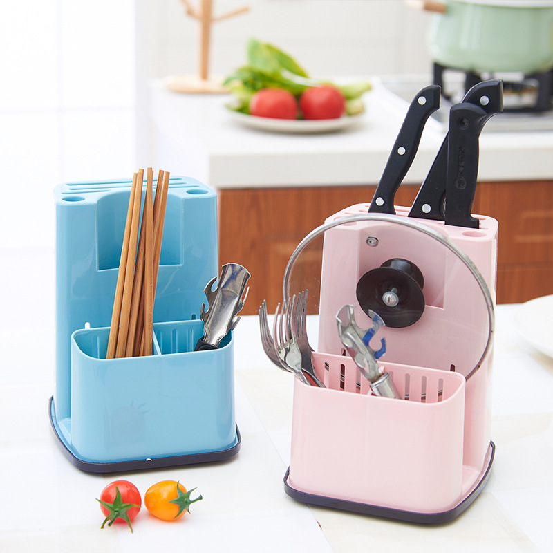 Unibird Plastic Multifunction Kitchen Utensils Holder Knife Blocks Cutlery Rack Spoon Rest Chopsticks Draining Rack Storage