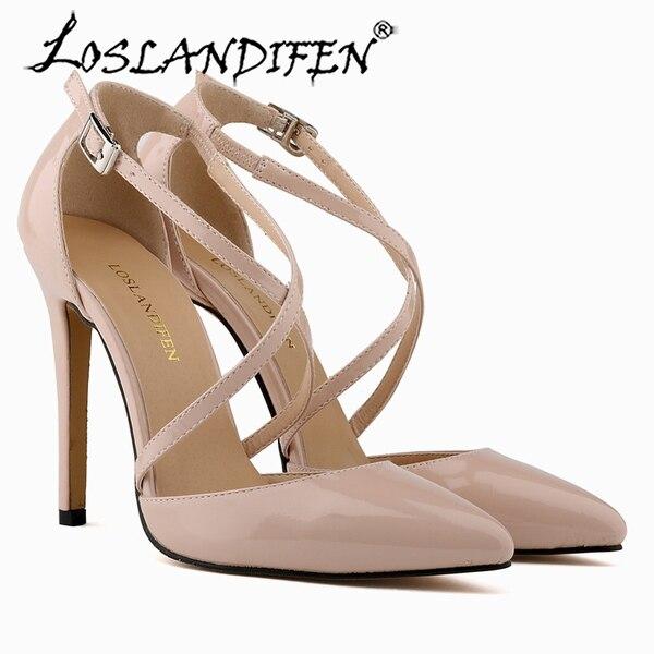 LOSLANDIFEN FASHION PU LADY SEXY PARTY OPEN TOE PUMPS BRIDAL HIGH HEELS SHOES ANKLE STRAP SANDALS US SIZE 5-10 302-12PA loslandifen womne s sandals nude black sexy faux suede high heels shoes open toe ankle strap summer party sandals 102 3suede