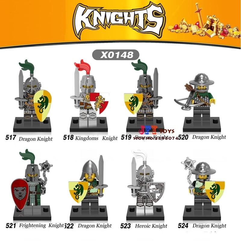50pcs super heroes model Medieval Knights Gladiatus Dragon Warrior building block bricks for children toys brinquedos menina