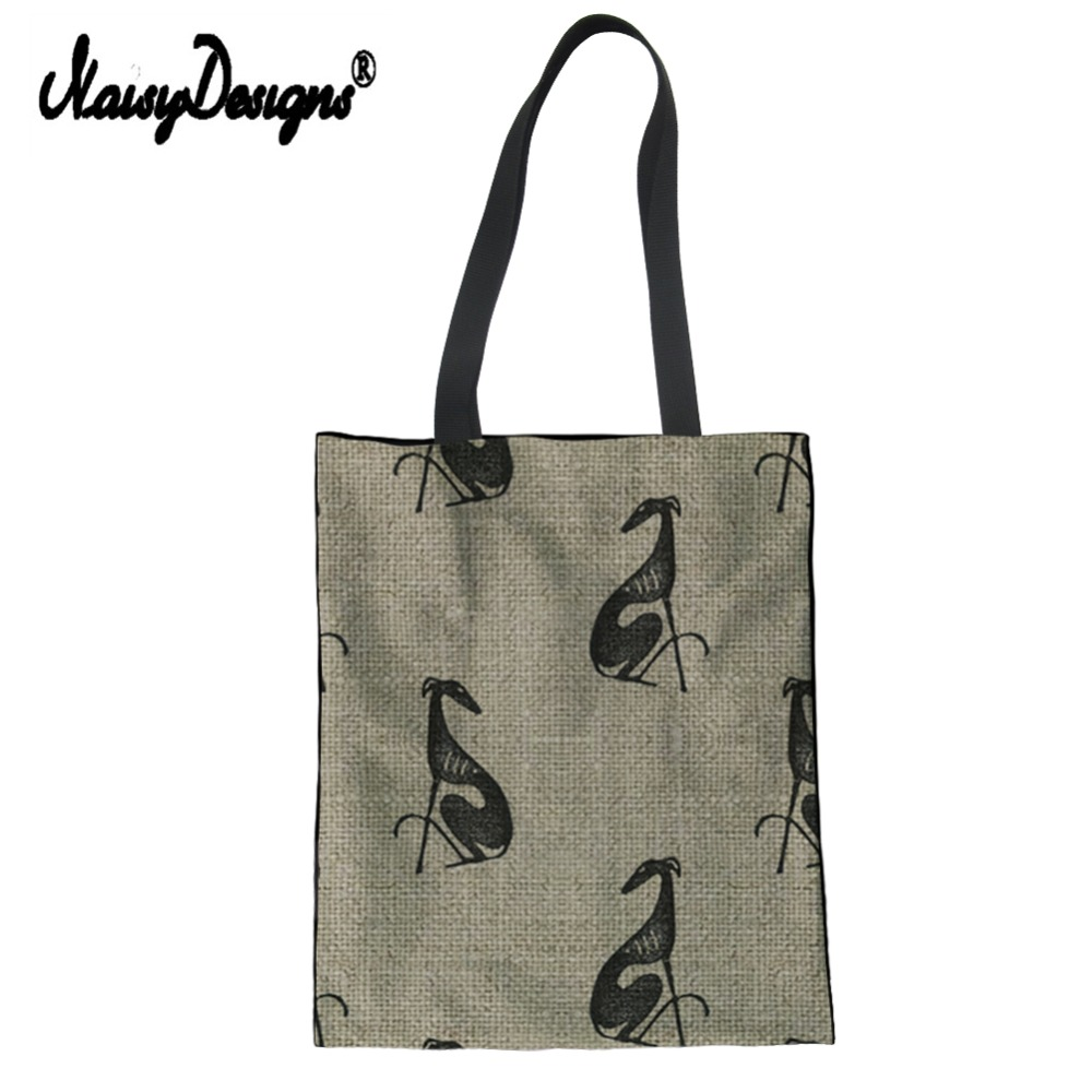Noisydesigns Greyhound Printed Women Tote Shopping Bag Customized Female Canvas Shoulder Handbag Cotton Beauty Girl Friends Gift