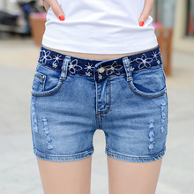 In the summer of 2016 Korean hole denim shorts stretch jeans