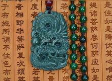 Verdadero Natural HeTian Jade tallado dragón suerte amuleto colgantes verde certificado de colgante de Jade collar de la joyería de moda