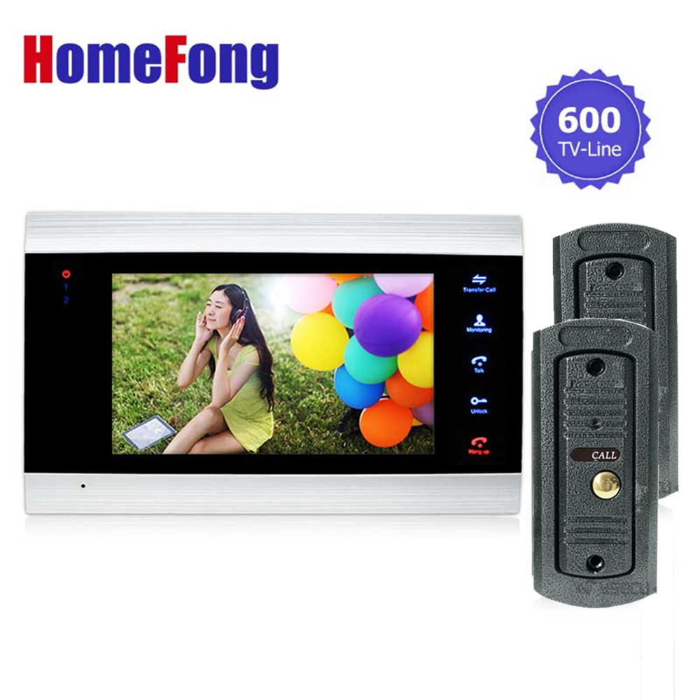 Homefong 7 Inch Video Door Phone Doorbell Intercom System 1 monitor 2 Doorbell Camera Day/Night Vision Recording Video/photo homefong 4 inch monitor lcd color video record door phone doorbell intercom system night vision 1200tvl high resolution