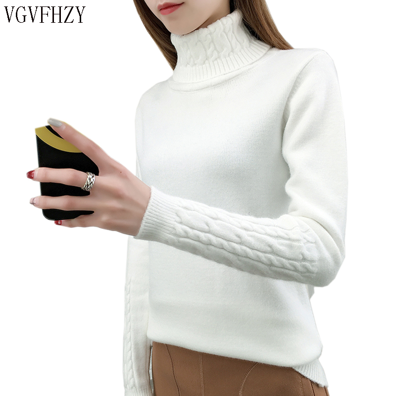 Women Turtleneck Sweater Female 2019 Cashmere Knitted Winter Sweater And Pullover Female Tricot Jersey Jumper Pull Tops Femme
