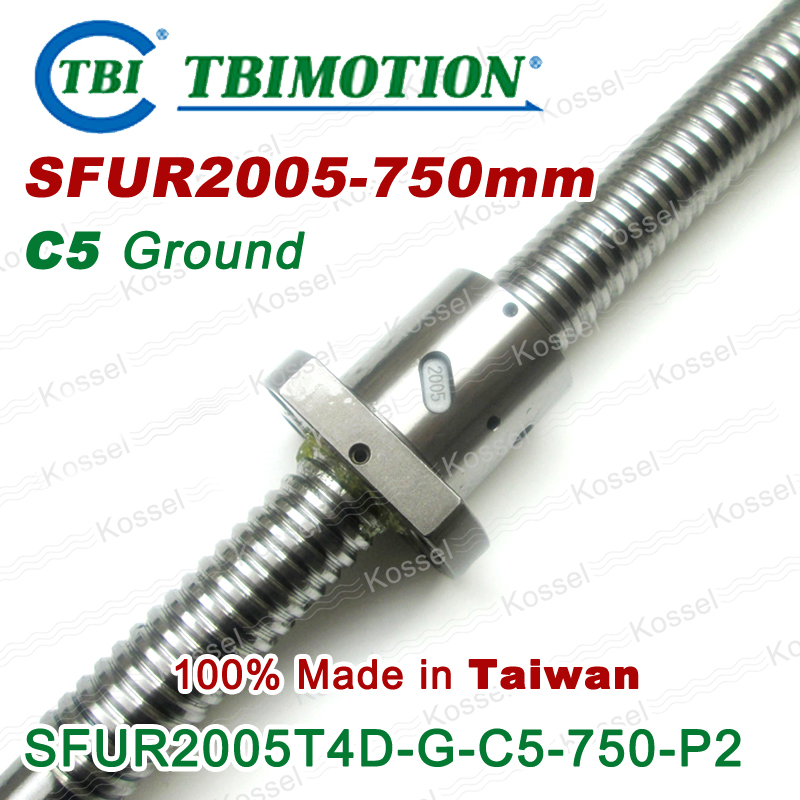 TBI 2005 C5 750mm ball screw with SFU2005  5mm lead screws nut of SFU set end machined for high precision CNC kit tbi sfu 1605 c3 350mm ball screw 5mm lead with sfu1605 ballnut end machined for high precision cnc diy kit sfu set