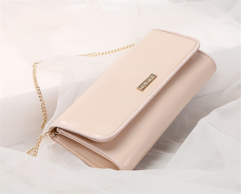 New Elegant Pure 3 Color Dinner Banquet Bag PU Leather High Quality Evening bag with chain HBF37 (11)