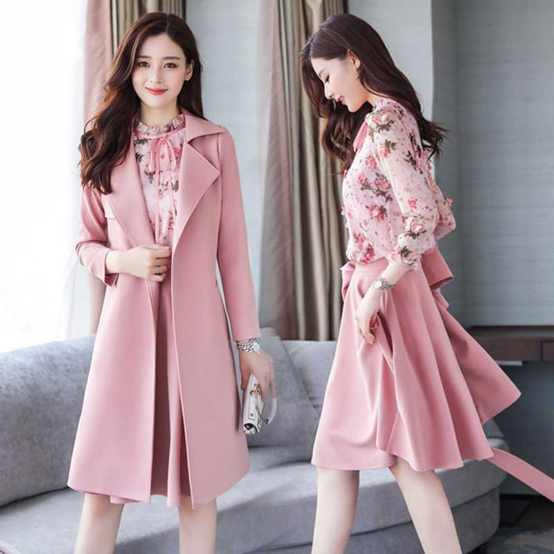 2019 Fashion Pink Women Skirt Sets High Quality Three Piece Set Coat Shirts Skirts High Waist