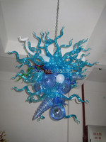 Free Shipping New Arrival Led Bulbs Blue Colored Glass Chandelier On Sale