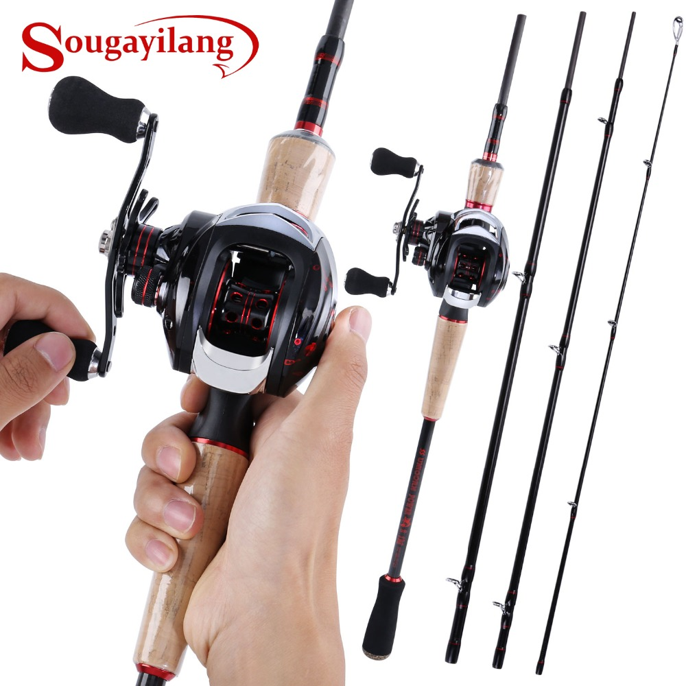 Sougayilang Canna Da Pesca Reel Combos-4-pezzi M Potenza Casting Canna Da Pesca Pole e 17 + 1BB Baitcasting bobina di Kit di Strumenti Da Set