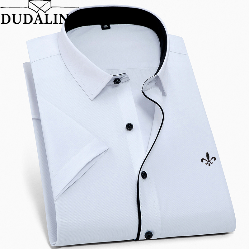 DUDALINA New Summer Fashion Mens Shirt Slim Fit Short Sleeve Casual Shirt Mens Clothing Trend Plus Size Mens Casual Brand Shirt